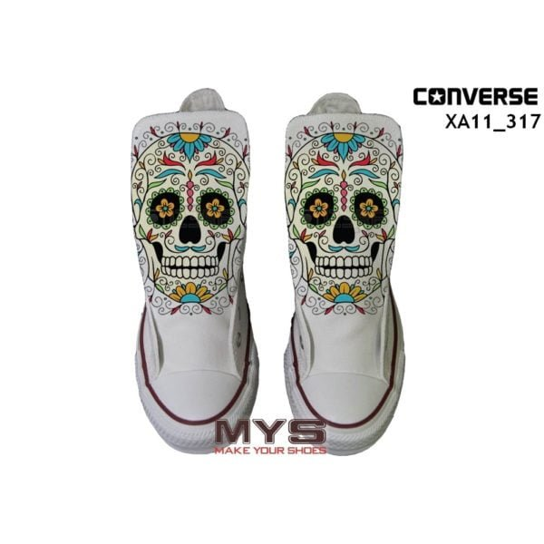 CONVERSE ALL STAR HIGH CUSTOMIZED SKULL TESCHIO FLOREALE COD. XA11_317